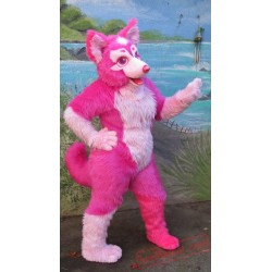 Pink Wolf Fursuit Costumes Animal Mascot for Adults