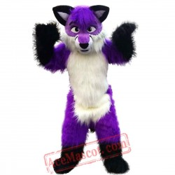 Long Hair Purple Wolf Mascot Costume for Adult