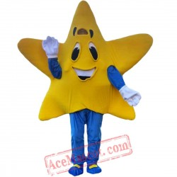Yellow Five-Pointed Star Mascot Costume for Adult