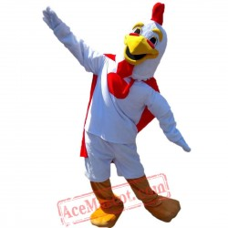 White Big Cock Mascot Costume for Adult