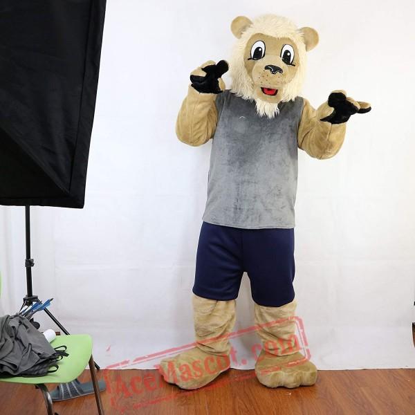 Sport Beige Lion Mascot Costume for Adult
