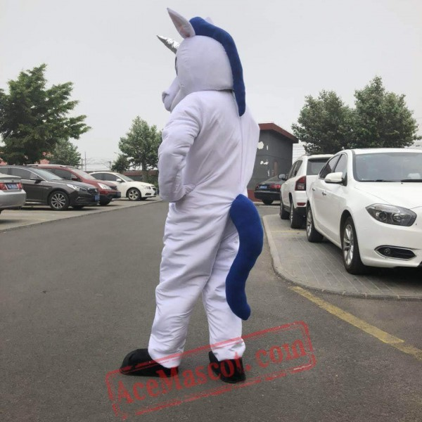 White Unicorn Horse Mascot Costume for Adult