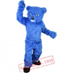 Blue Long Hairy Bear Mascot Costume for Adult