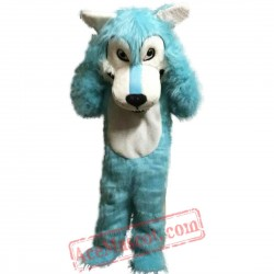 Blue Big Mouth Wolf Mascot Costume for Adult