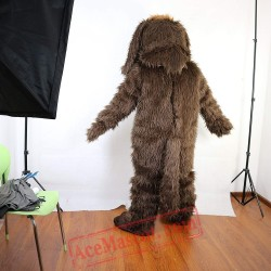Brown Long Hairy Dog Mascot Costume for Adult