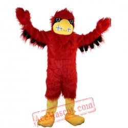Long Hairy Red Eagle Mascot Costume for Adult