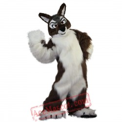 Long Hair Brown Wolf Mascot Costume for Adult