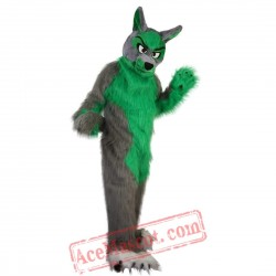 Long Hair Green Wolf Mascot Costume for Adult