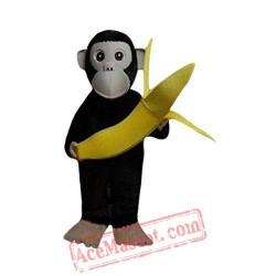 Black Chimpanzee And Banana Mascot Costume