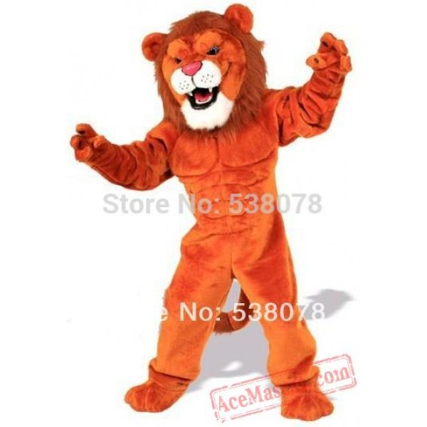 Deluxe Red Power Lion Mascot Costume