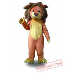 Professional Orange Brown Hair Lion Mascot Costume