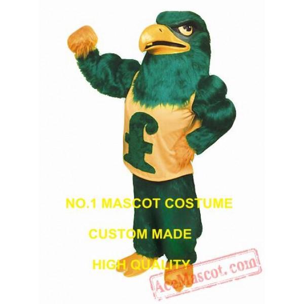 Long Plush Green Falcon Eagle Mascot Costume