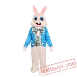 Blue Vest Easter Bunny Mascot Costume