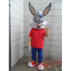 Easter Bunny Mascot Costume Bugs Gray Rabbit