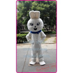 White Plush Bunny Mascot Costume