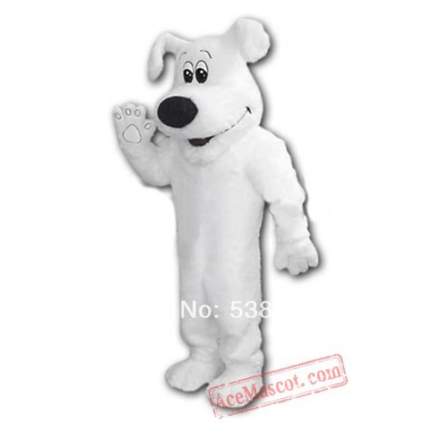 Big White Dog Adult Mascot Costume
