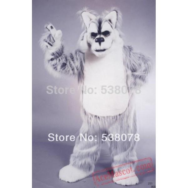 Deluxe Long Hair Light Grey Husky Mascot Costume