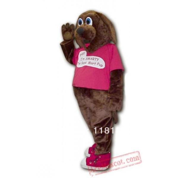 Dark Brown Smarty Dog Mascot Costume