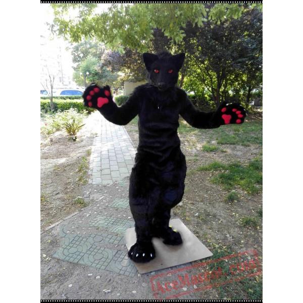 Black Wolf Fursuit Mascot Costume Husky Dog
