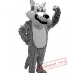 Long Plush Grey Wolf Mascot Costume