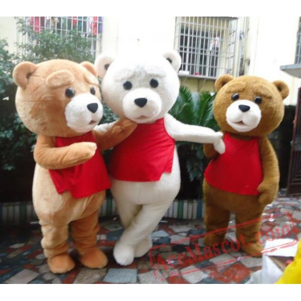 Adult Fur Teddy Bear Mascot Costume