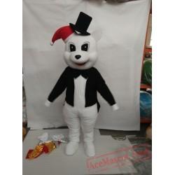White Bear With Black Jacket Plush Mascot Costume