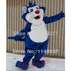 Blue Fat Cat Mascot Costume