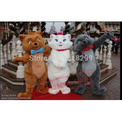 White Brown Cat Mascot Costume