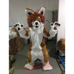 Brown Husky Dog Fox Cartoon Mascot Costume