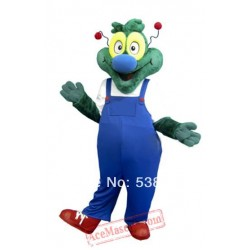 Blue Coat Green Dragon Dinosaur Mascot Costume