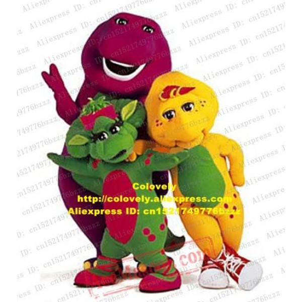Barney Baby Bop Bj Barney'S Friends Dinosaur Mascot Costume Green Yellow Purple