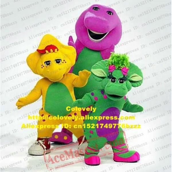 Barney Baby Bop Bob And Bj Dinosaur Mascot Costume Green Yellow Purple