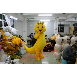 Golden Crown Yellow Tail Dinosaur Mascot Costume Cartoon