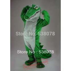 Long Mouth White Belly Green Crocodile Mascot Costume