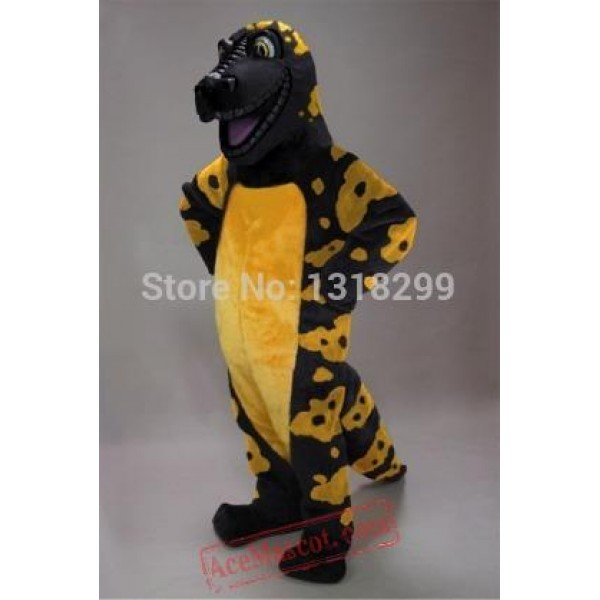 Black And Yellow Gila Crocodile Mascot Costume