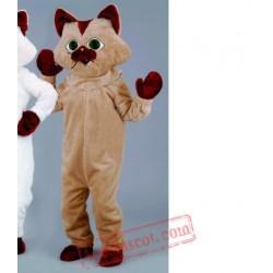 Helmet Brown White Cat Mascot Costume