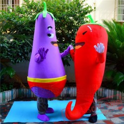 Chili Eggplant Mascot Costume Vegetables Cartoon