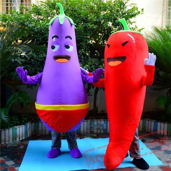 Chili Eggplant Mascot Costume Vegetables Cartoon