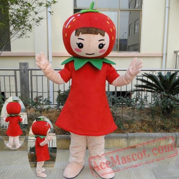 Fruit Strawberry Girl Mascot Costumes
