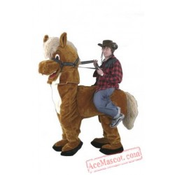 Two People Wear Brown Horse Mascot Costume