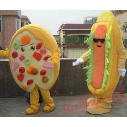 Hot Dog And Pizza Food Mascot Costume