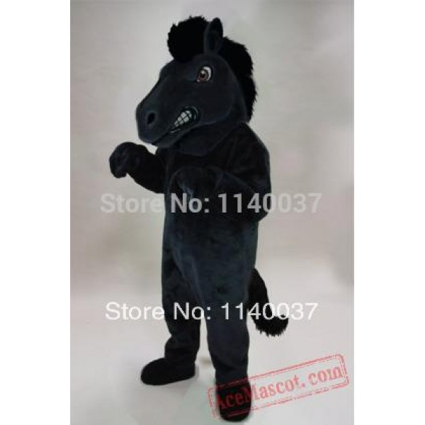 Black Fierce Horse Mustang Stallion Mascot Costume