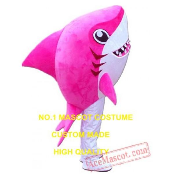 Cartoon Pink Shark Mascot Costume