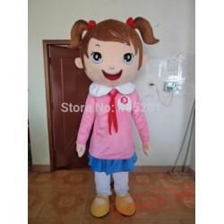 Pink Coat Girl Mascot Costumes