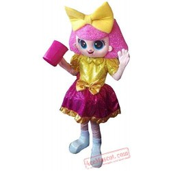 Deluxe Plush Adult Pink Girl Doll Christmas Mascot Costume