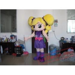 Cute Yellow Hair Girl Mascot Costume