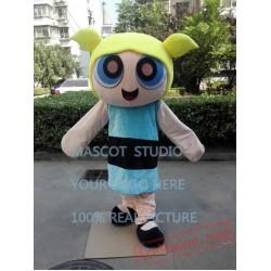 Blue Girls Mascot Costume Cartoon Character