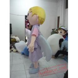Yellow Hair Angel Girl Mascot Costume