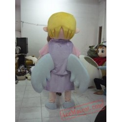 Cute Yellow Hair Angel Girl Mascot Costume