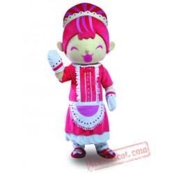 Pink Dress Girl Mascot Costume